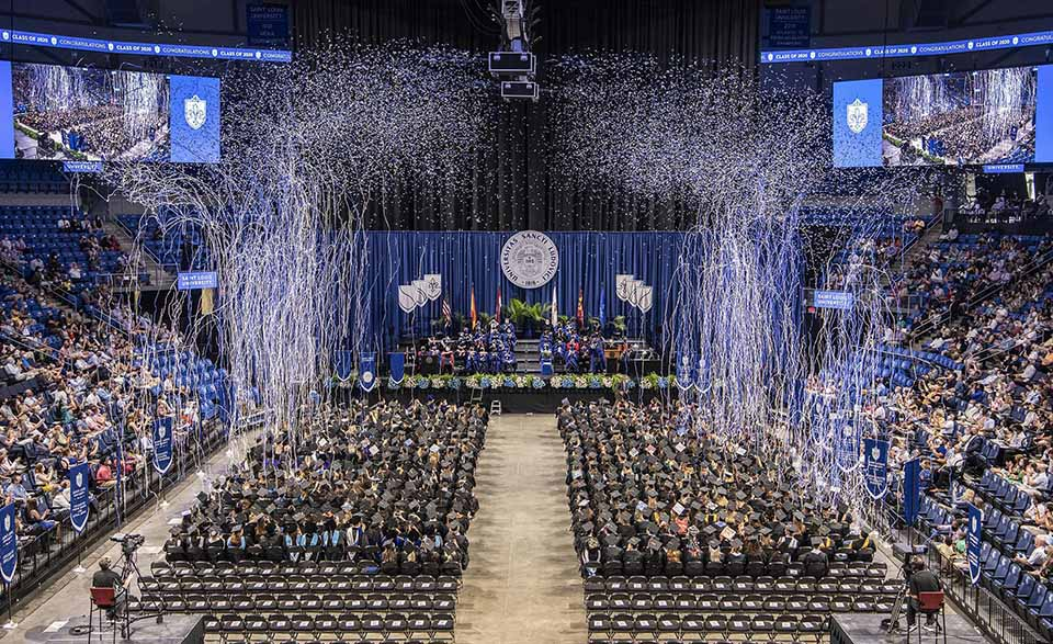 A commencement ceremony to honor May 2020 graduates took place Saturday, Aug. 7, at Chaifetz Arena. Photo by Steve Dolan.