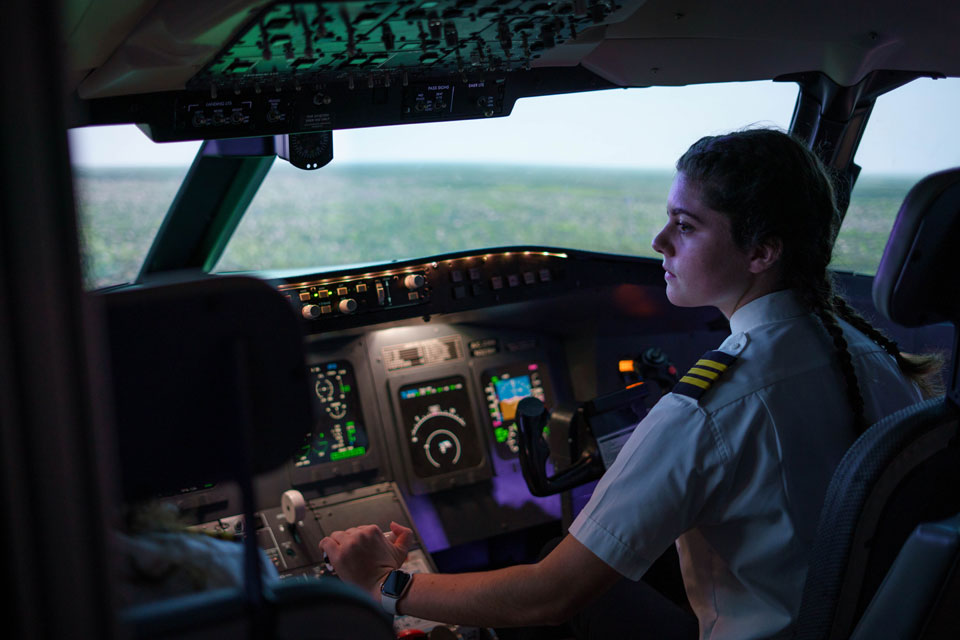 Christina Connell in the flight simulator