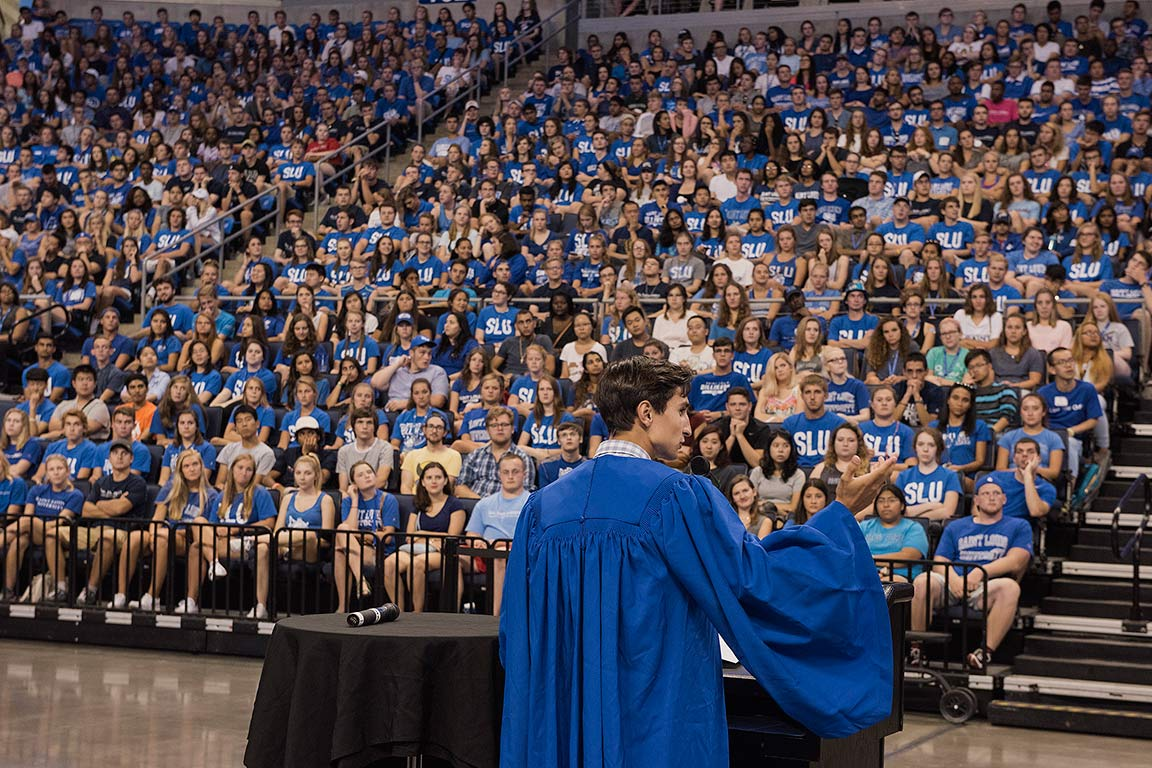Senior Corey James addresses the new Billikens during the convocation ceremony Aug. 18.