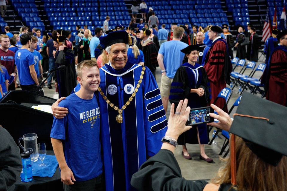 Pestello with student at Convocation