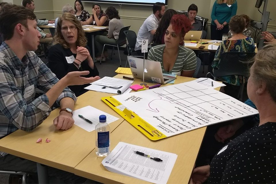 A capacity crowd of 60 faculty, staff and students participated in a hands-on Imagining Core Structures Workshop on Sept. 21.