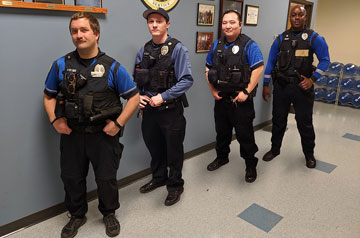 Four DPS Officers who saved lives in a recent off-campus incident.