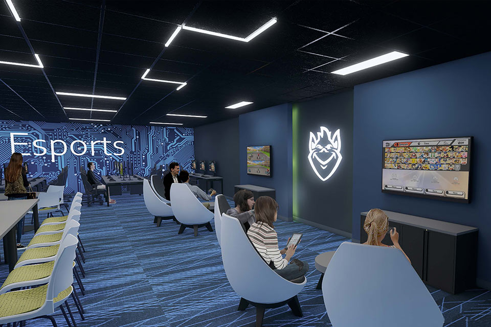 Artist's rendering of the new Esports Gaming Lab, which will feature 12 stations for computer gaming and three large TV monitors.