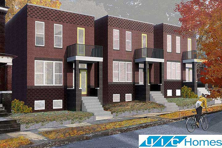 An artist's rendering of new homes that will be built in the Gate District