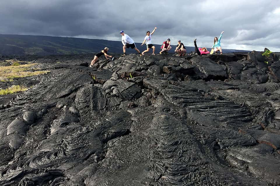 Students learn in lava fields