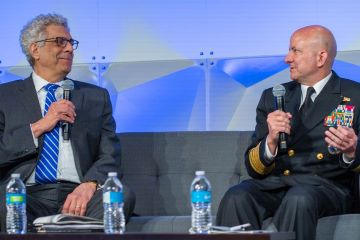 University President Fred P. Pestello, Ph.D. (left) joined Vice Admirable Robert Sharp, head of the National Geospatial-Intelligence Agency (NGA) for a moderated discussion about the future of St. Louis.