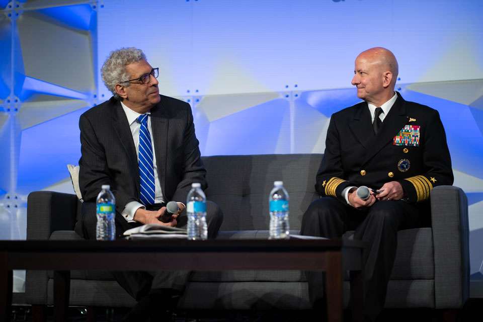 University President Fred P. Pestello, Ph.D., (left) joined Vice Admirable Robert Sharp, head of the National Geospatial-Intelligence Agency, for a moderated discussion about the future of St. Louis during the NGA's Geo-Resolution 2019 Conference. Photo by Steve Long.