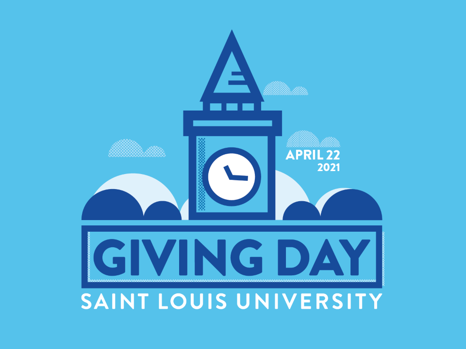 A graphic shows the SLU clocktower with the words Giving Day at Saint Louis University.