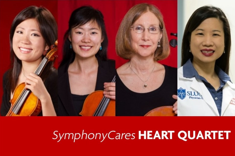 Xiaoxiao Qiang, left, Xi Zhang, Anne Fagerburg and Dawn Hui, M.D., are members of the St. Louis SymphonyCares Heart Quartet.
