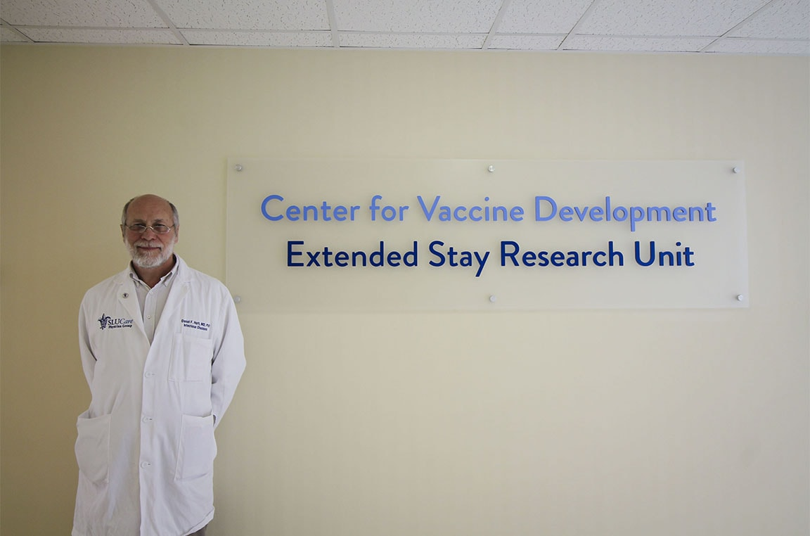 Daniel Hoft, M.D., Ph.D., stands outside SLU's newest vaccine research facility.