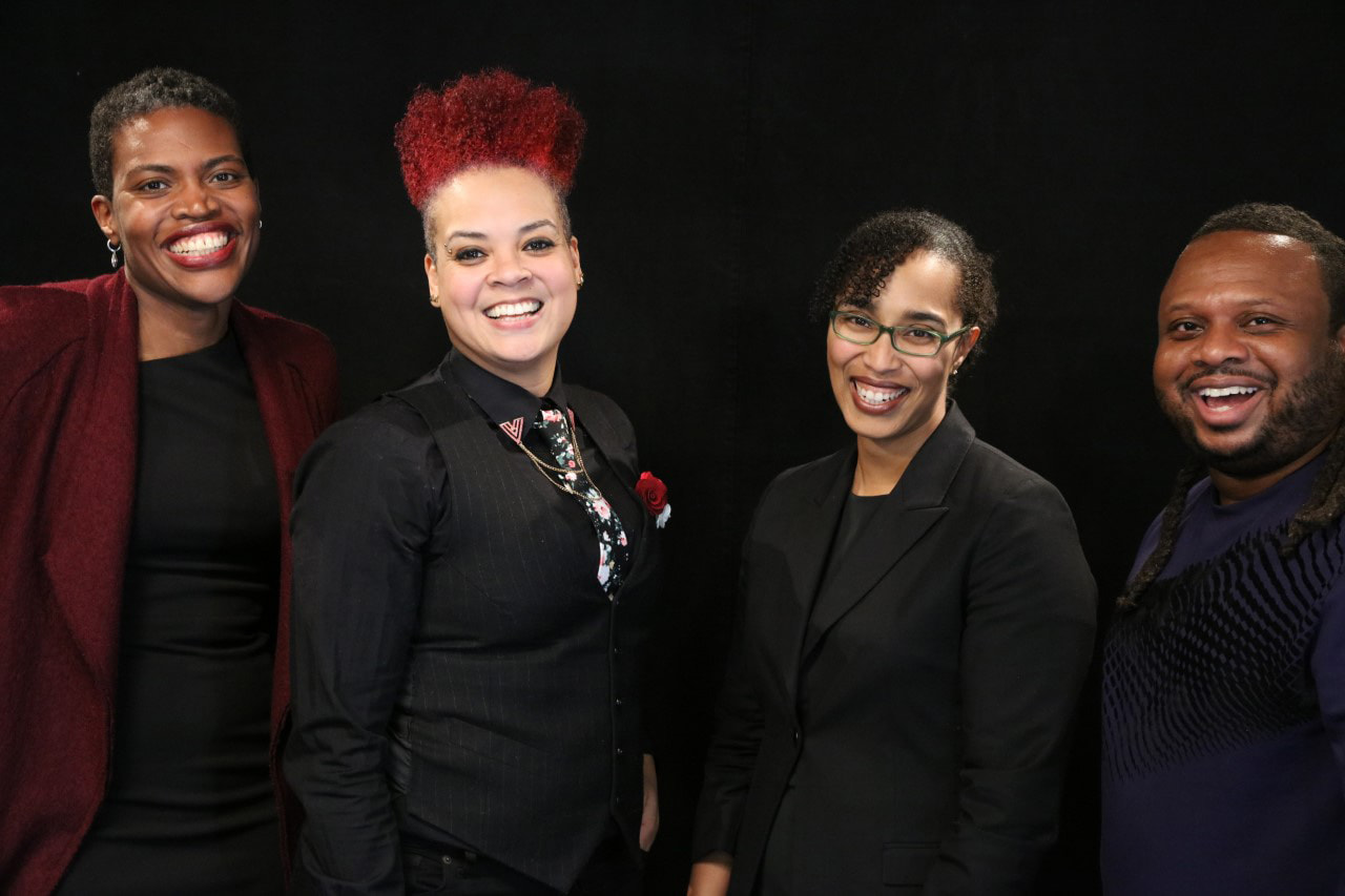 Amber Johnson, Ph.D., associate professor of communication, is a co-founder of SLU's Institute for Healing Justice and Equity. Johnson is pictured second from the left.