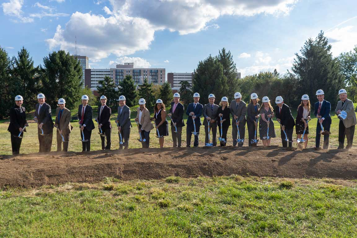Members of the Saint Louis University community turned out Monday to watch the ceremonial turning of the first dirt for SLU's new Interdisciplinary Science and Engineering Building.