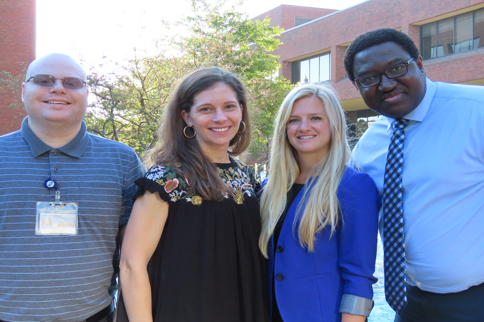 From left, Matthew Simpson, MPH, Jennifer Brinkmeier, M.D., Haley Bray, M.D., and Nosayaba Osazuwa-Peters, BDS, Ph.D., MPH, of SLU's Department of Otolaryngology, published an article in the latest issue of the journal JAMA Otolaryngology.