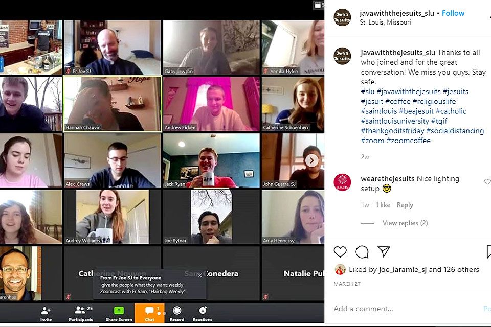 "Billikens gather via Zoom and Instagram during the first online ""Java with the Jesuits"""