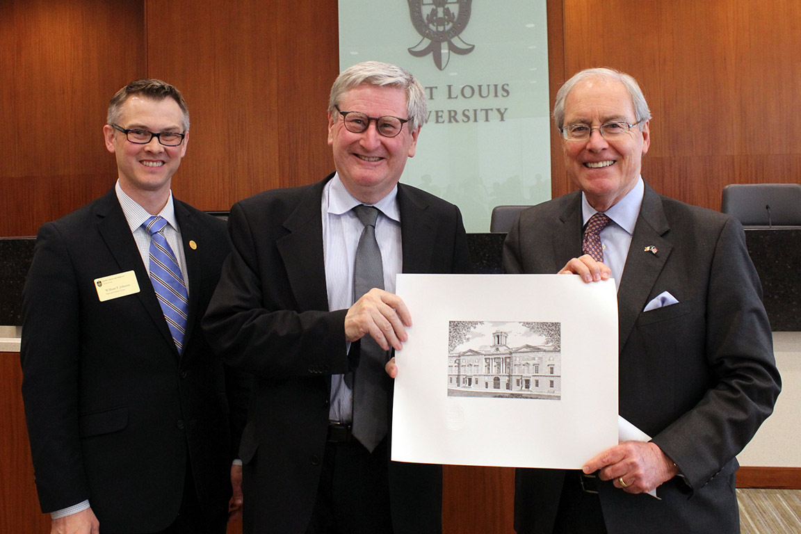 Justice John MacMenamin poses with Dean William Johnson and Ambassador Kevin F. O'Malley