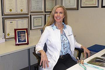 SLUCare nephrologist Krista Lentine, M.D., Ph.D., pictured in the Abdominal Transplant Center at SSM Health Saint Louis University Hospital.