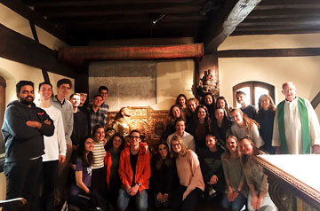 Students take part in the SLU-Madrid Loyola Pilgrimage Retreat.