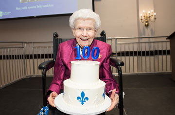 Dame Mary Bruemmer with her 100th Birthday Cake.