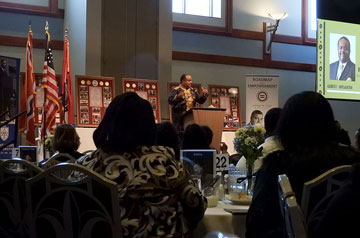 Roland Martin speaks at the Martin Luther King Memorial Tribute Breakfast at Saint Louis University on Thursday, Jan. 16.