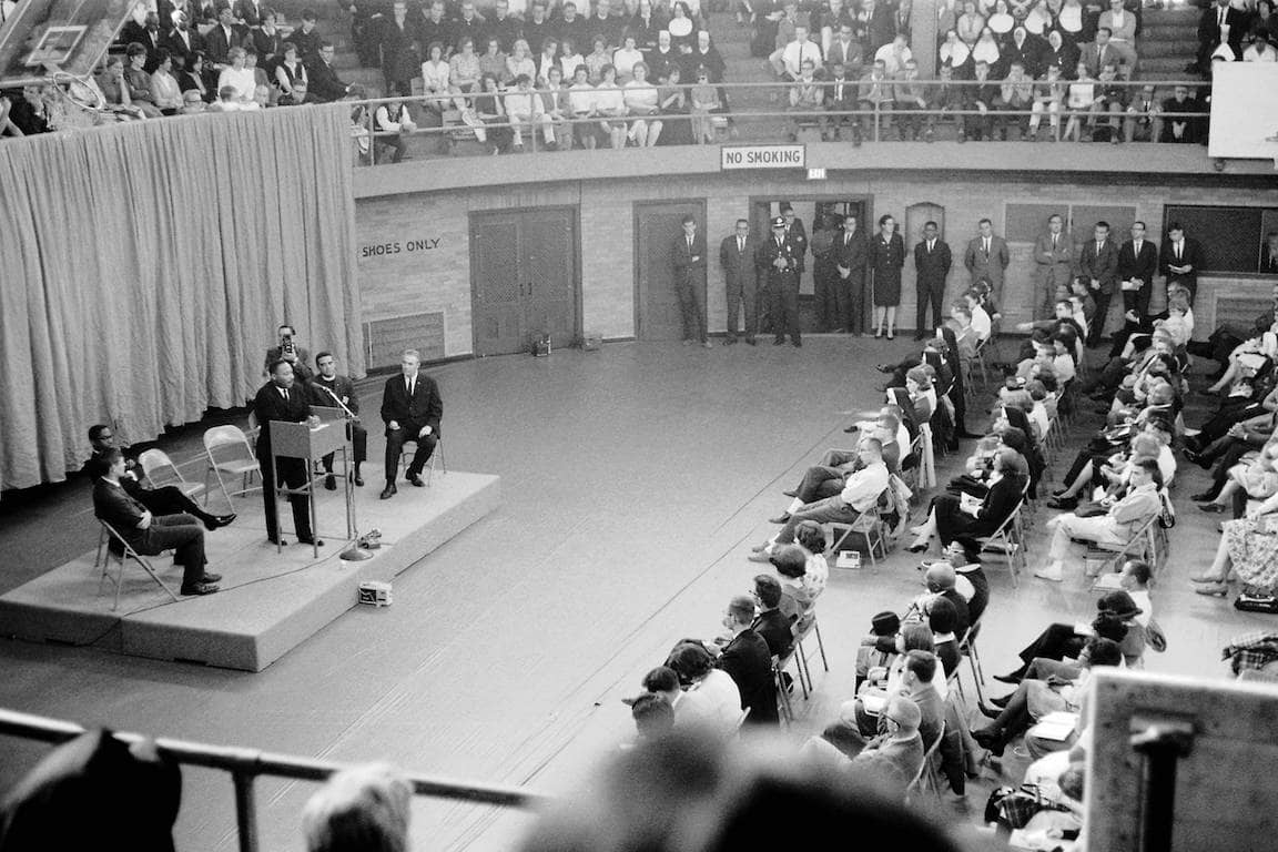 Martin Luther King Jr. speaks in the former West Pine Gym.