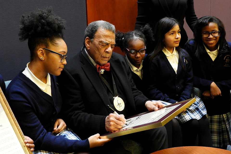 Andrew Young with students from Marion Middle School following the ceremony