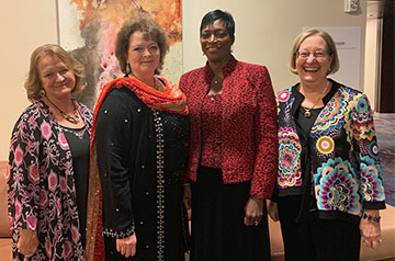 Karen Moore, DNP, associate professor from SLU's Trudy Busch Valentine School of Nursing, celebrates with colleagues as she was inducted as a fellow of the American Academy of Nursing at its annual policy conference in October.