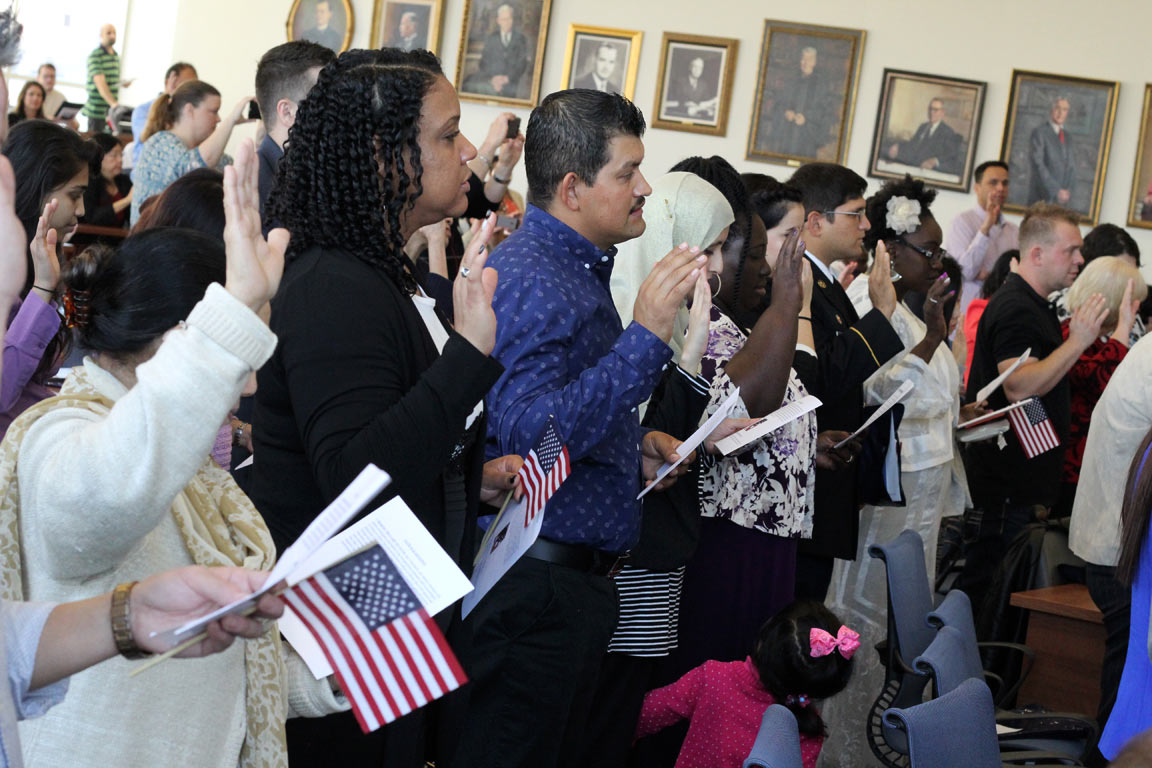 SLU's School of Law hosted a naturalization ceremony Friday, Oct. 28, which Dean Michael Wolff, J.D., recognized as