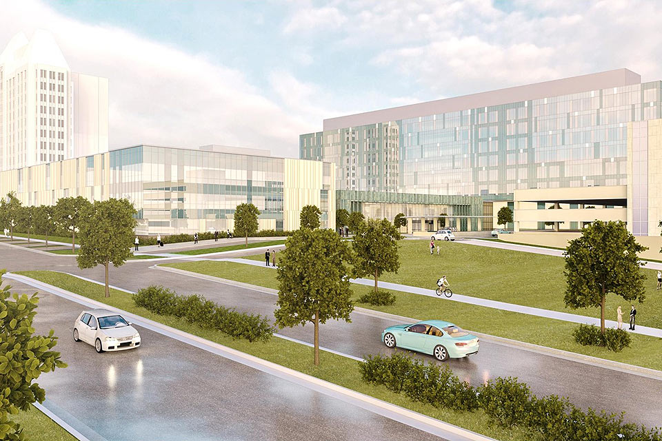 Rendering of new SSM Health Saint Louis University Hospital and ambulatory care center.