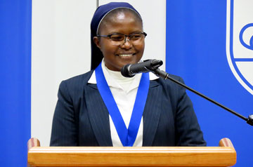 Saint Louis University and the Opus Prize Foundation proudly announce that Sr. Catherine Mutindi, the founder of Bon Pasteur in the Democratic Republic of Congo, is awarded the 16thannual Opus Prize. The Opus Prize is awarded annually to a leader in faith-based humanitarian work.