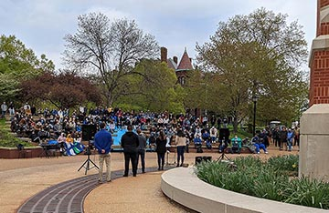 The Saint Louis University community gathered at the Lipic Clock Tower Plaza to remember the victims of systemic racism and police brutality.