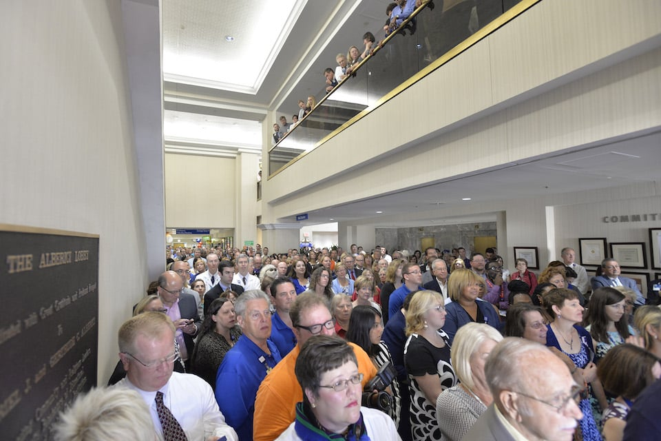 Guests pack the SLU Hospital lobby during the press conference announcing the new partnership. Photo by Kevin Lowder