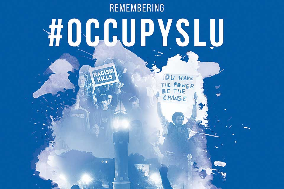 Graphic for Remember Occupy SLU week of events.