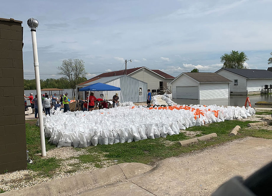 Sand bags staged in Hardin, Illinois