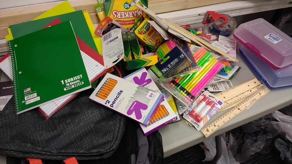 School supply drive collections