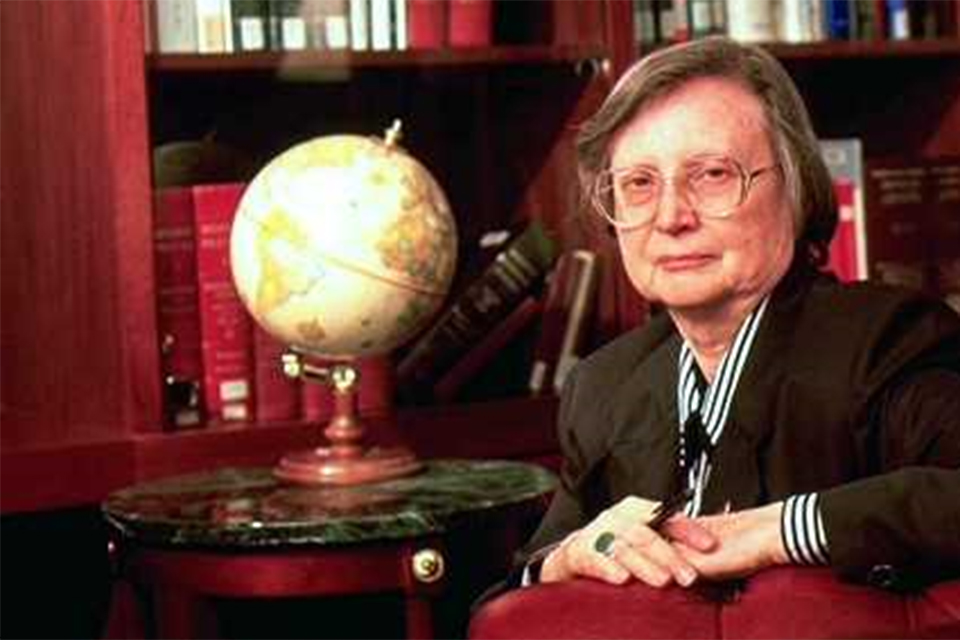 Law professor emerita Eileen Haughey Searls, J.D., director of the Omer Poos Law Library for 48 years, died Jan. 6, 2019, at the age of 94.