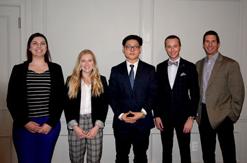(From left) Megan Goessling, SLU development officer, SIOR Scholars Keara Anderson, Henry Lim, Benjamin Cleveland, and Scott Savacool, president of the St. Louis Chapter of the SIOR: Society of Industrial and Office Realtors. Submitted photo