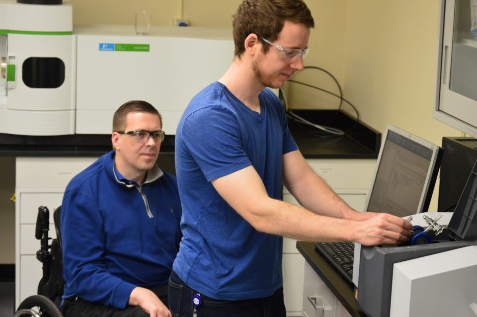 Steven Skaggs pictured in the lab with Paul Bracher, Ph.D., assistant professor of chemistry at SLU