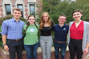 Students involved in SLU's sustainability initiative include, from left, Douglas Fritz, Laura Beilsmith, Elizabeth Pottrf, Robert Lasky, and Brenda Kirlin.