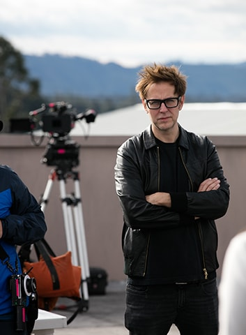 James Gunn on the set of The Belko Experiment.