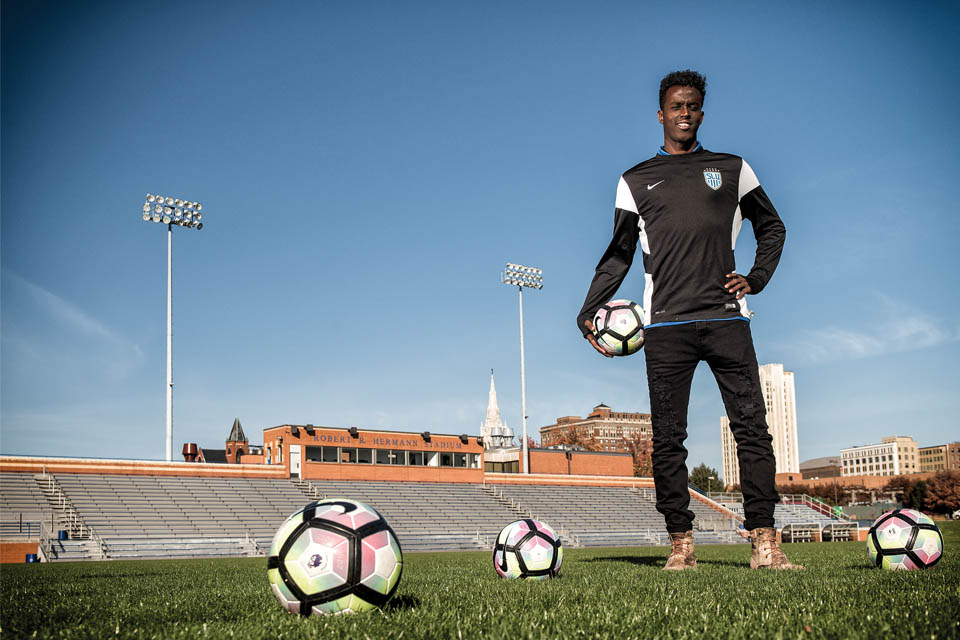 Saadiq Mohammed stands in Robert Hermann Stadium.