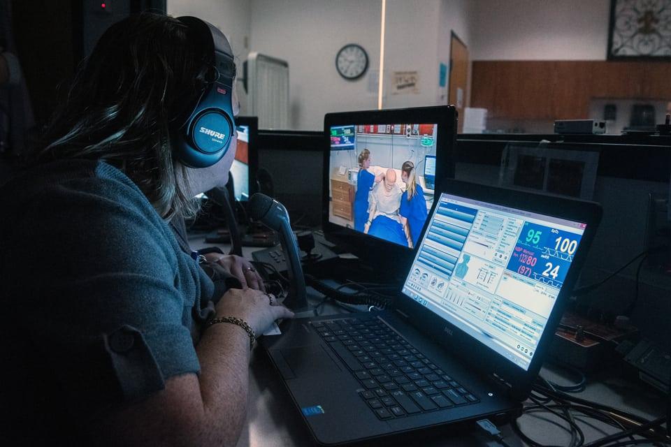 Nursing students behind computers