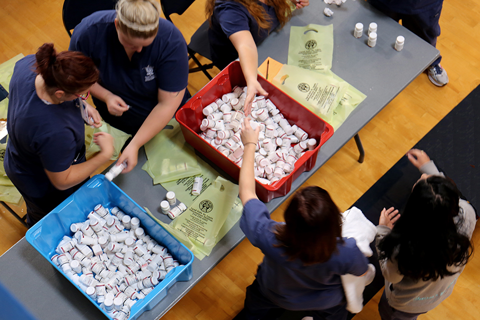 Students sort bottle of prescription drugs